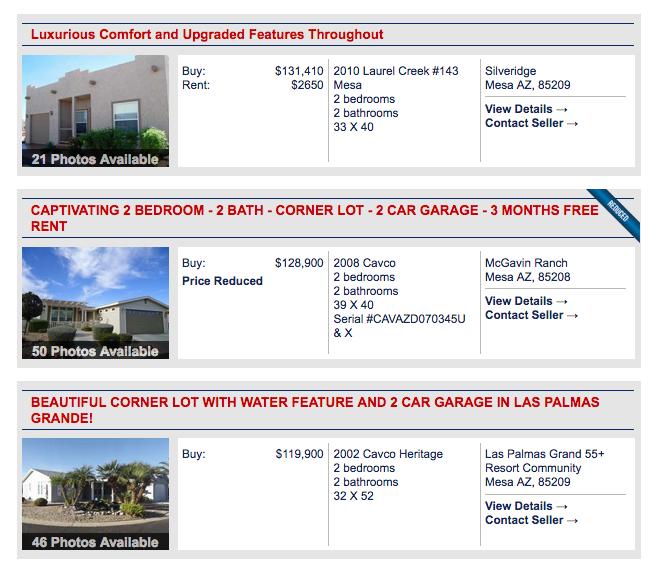 Listing captions on homes on MHVillage