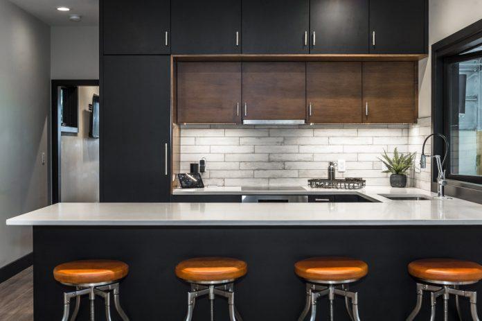 slate homes barstools kitchen modern