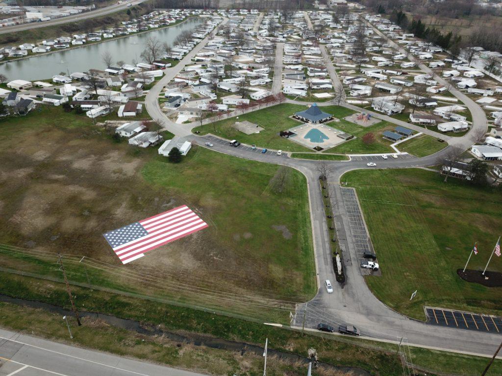 aerial shot Pikewood Manor American Flag