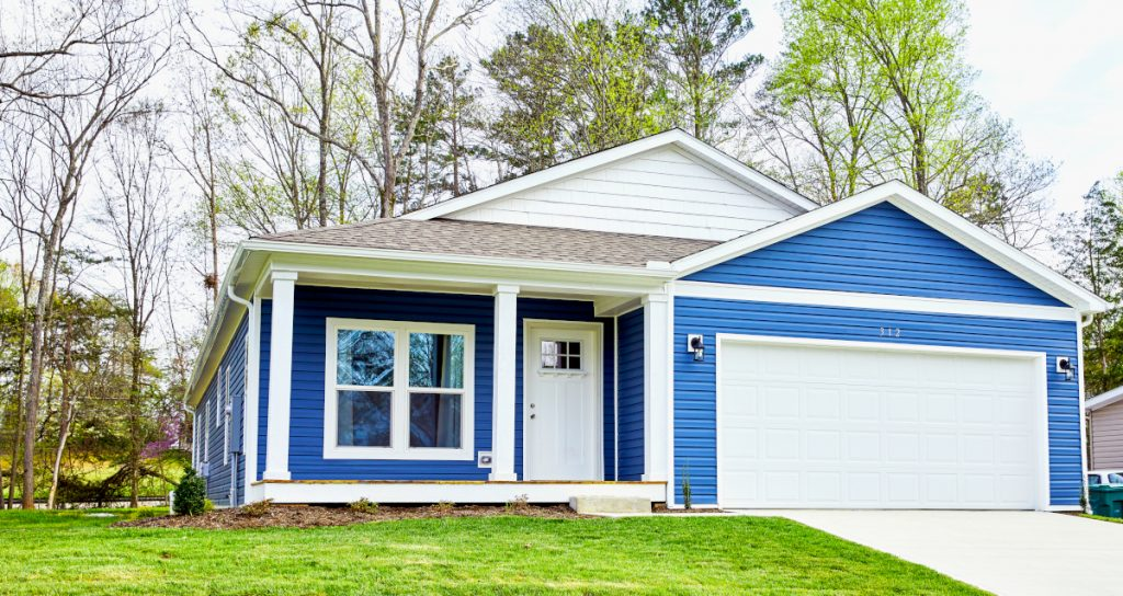 blue exterior manufactured home housing affordability